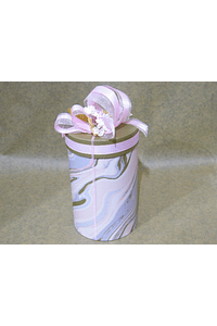 M2006 - Caixa pequena cilindro mármore rosa decorada.