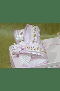 M2012 - Caixa metal rosa retangular grande decorada