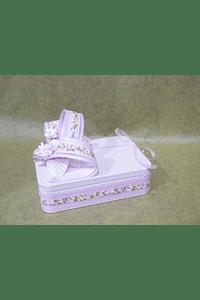 M2013 - Caixa metal rosa retangular pequena decorada