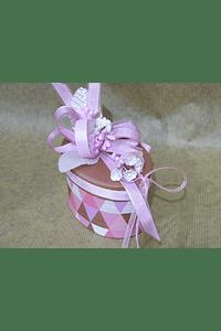 M2043 - Caixa cartão oval rosa decorada