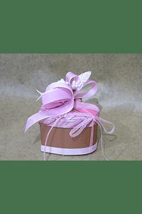 M2045 - Caixa cartão coração decorada cor de rosa