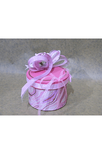 M2046 - Caixa cartão redonda decorada cor de rosa