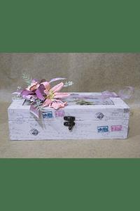 M2061 - Caixa madeira retangular com azulejo decorada