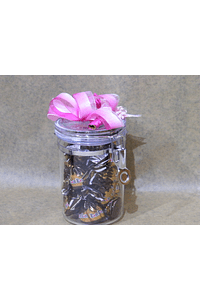 M2091 - Frasco acrílico médio decorado a cor de rosa