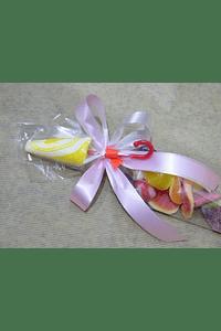 FA2021.1 - Cone de gomas rosa com chupa sombrinha