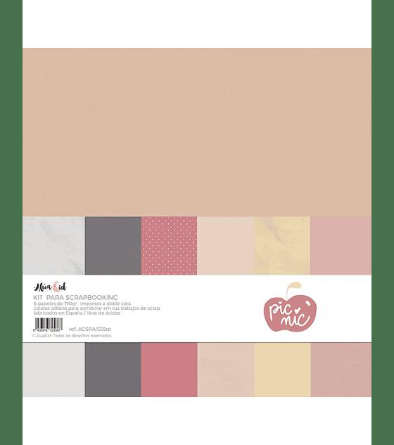 Kit papel colores sólidos Picnic