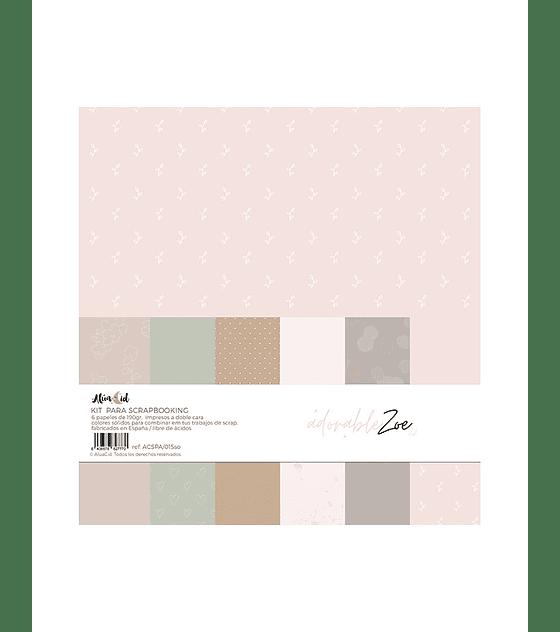 Kit papel colores sólidos Adorable Zoe 2.0