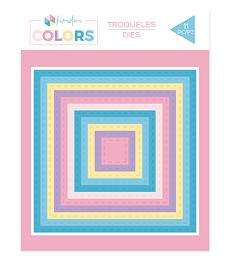 Troqueles básicos Kimidori Colors Cuadrados cosidos