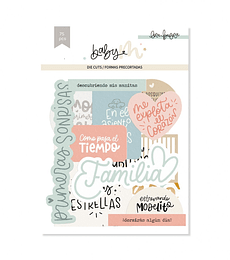 Die cuts lettering con foil BABY M