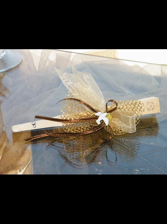 C11004 - Leque madeira decorado ouro e bordô com pomba