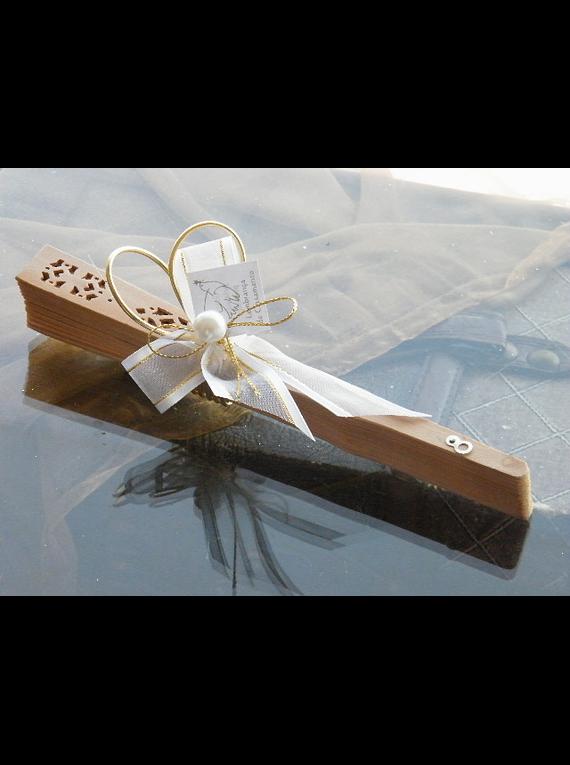 C11005 - Leque madeira decorado branco e ouro