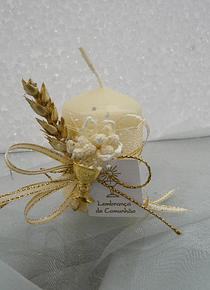 C11302 - Vela perola decorada a dourado para comunhão