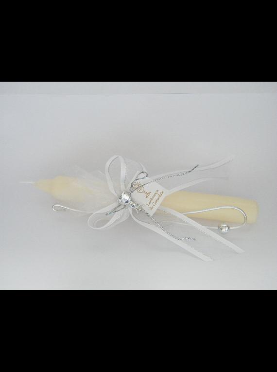 C11304 - Vela comprida decorada com fita e arame