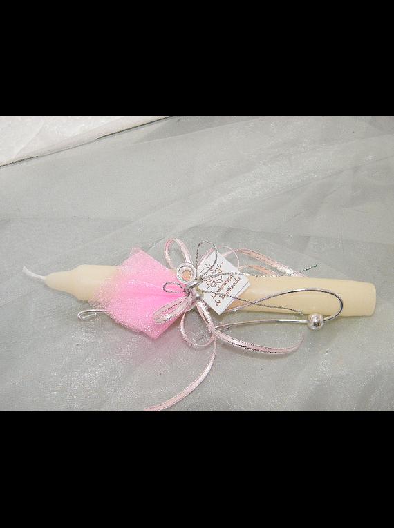 C11210 - Vela alta decorada em rosa com arame
