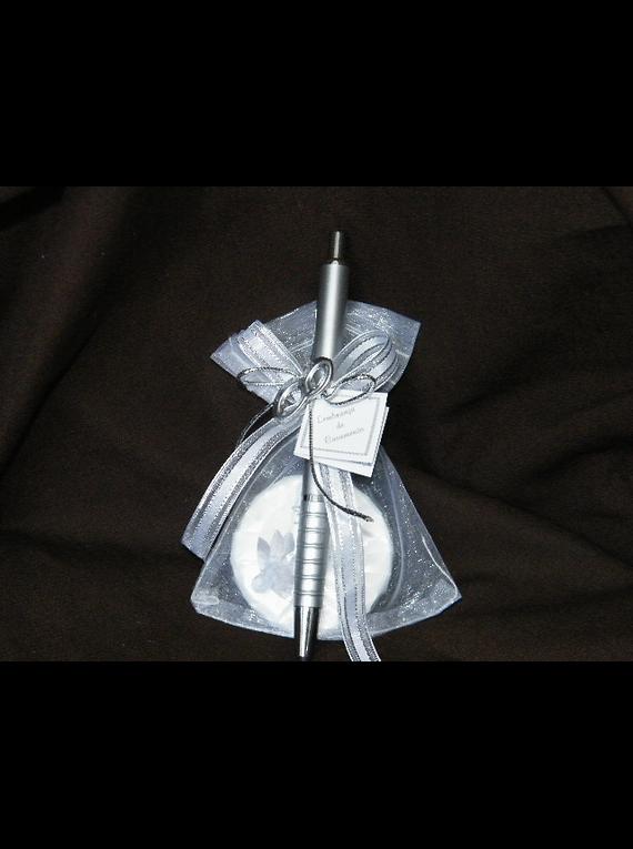 C13036 - Saco organza com sabonete decorado com caneta