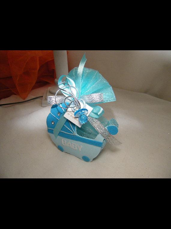 C14216 - Carrinho de bebé em sisal na cor azul.