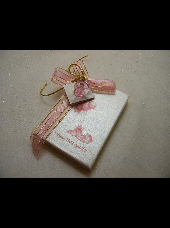C14206 - Livro de notas pequeno decorado em rosa e dourado com chupeta