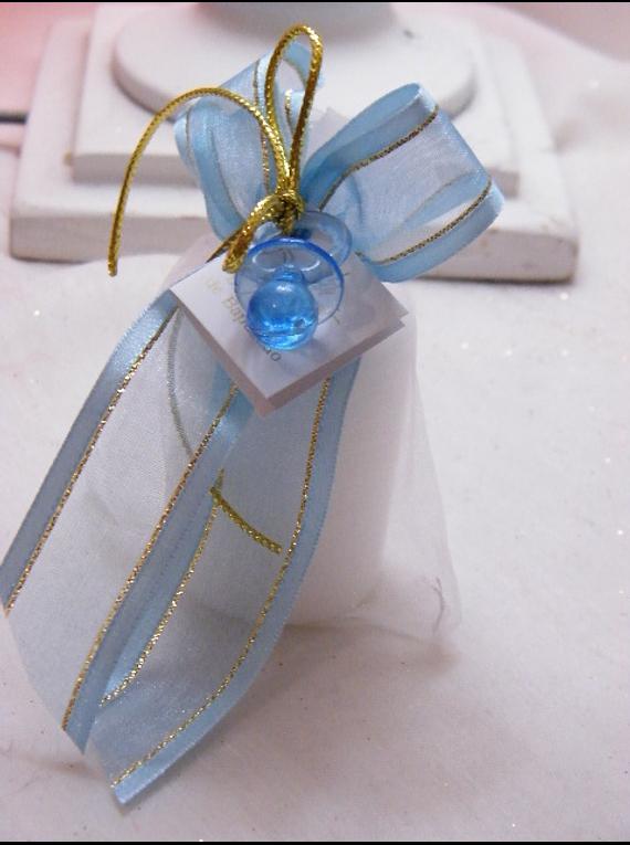 C15208 - Vela em saco de organza decorado a azul e dourado