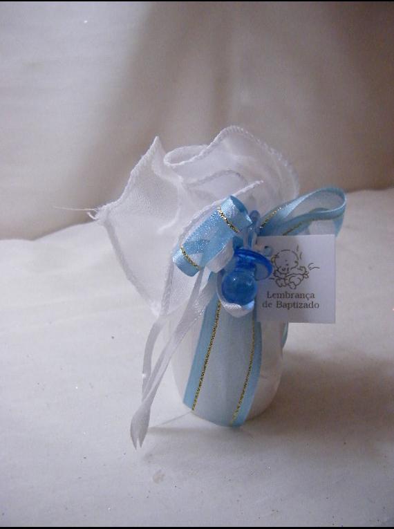 C15217 - Vela cilíndrica em bolsa de cetim decorada a azul