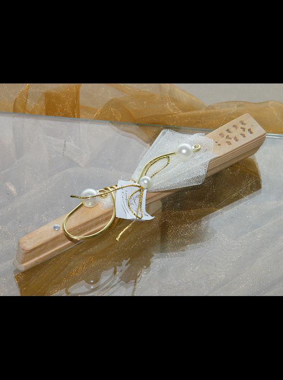 C11002 - Leque com arame dourado e pérolas artificiai