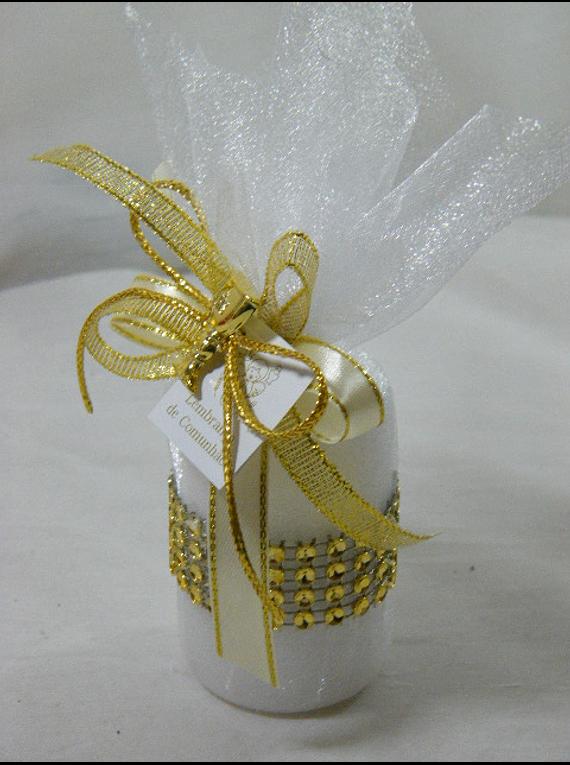 C15312 - Vela redonda em trouxa organza decorada a dourado