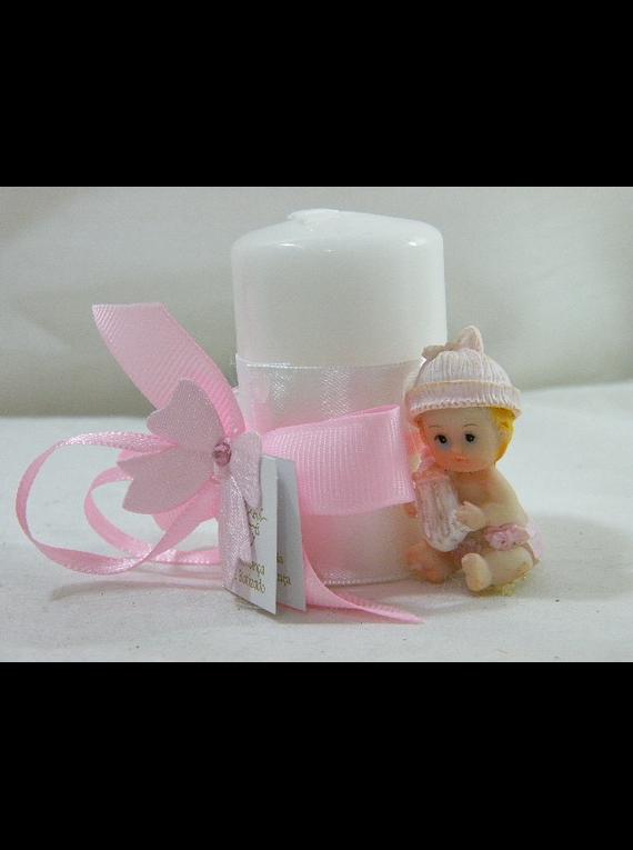 C15231 - Vela cilíndrica branca decorada em rosa