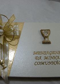C9083.4 - Livro de mensagens de comunhão A5 decorado em dourado