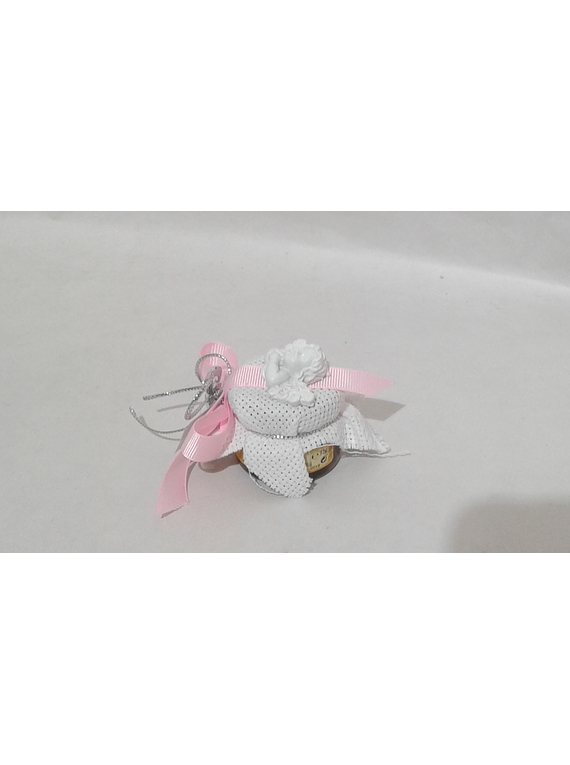 C18224 Frasquinho mel decorado rosa com busto de anjo