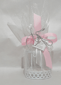 C18212 Gaiola branca decorada cor de rosa