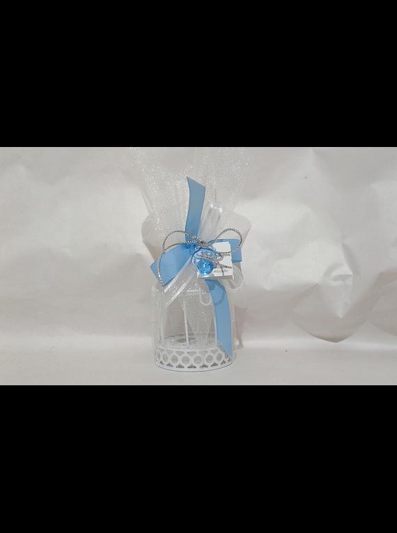 C18213 Gaiola branca decorada azul