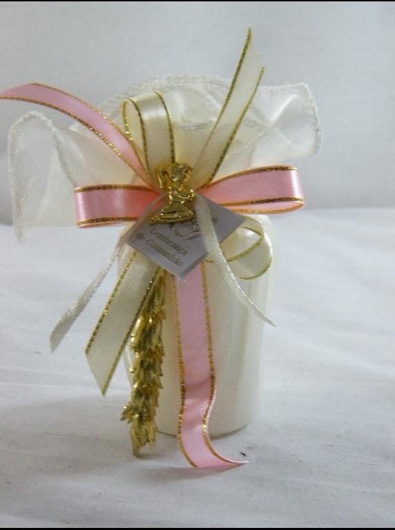 C15332 - Vela em saco decorada em bege, rosa e apontamentos dourados