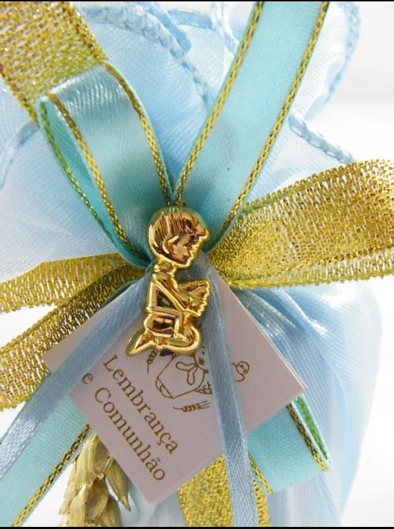 C15333 - Vela em saco tecido azul decorada em dourado