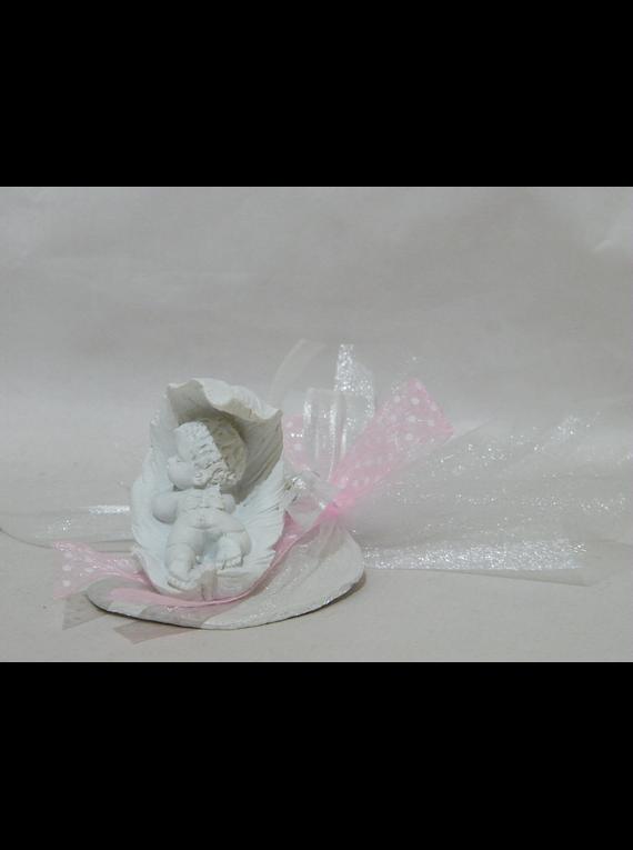 C18230 - Tule organza com anjo bebe na folha decorado rosa