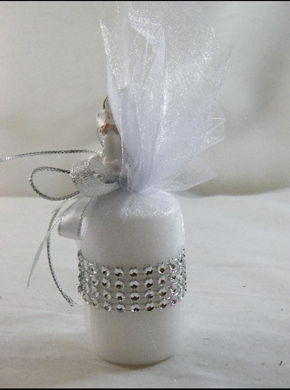 C15024 - Trouxa com vela redonda, decorada em dourado com noivos