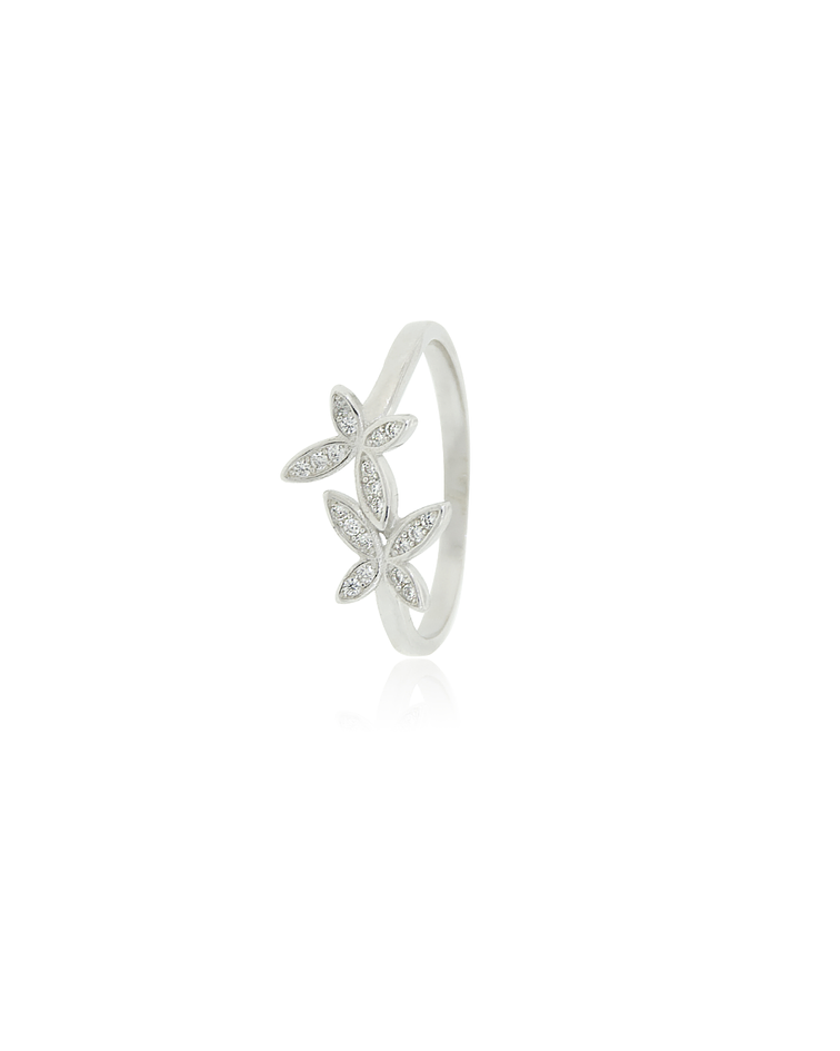 Anillo Plata Italiana 925 Doble Mariposa Circon