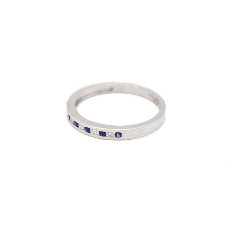 Anillo  Oro Blanco 18Kt Medio Cintillo  Diamantes-Zafiro Natural