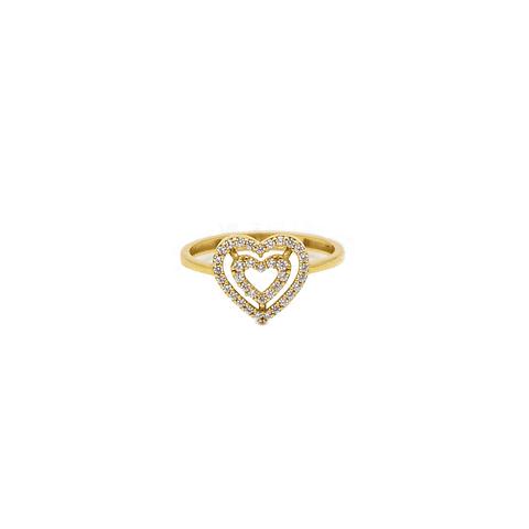 Anillo Oro 18 kt Modelo Corazón  Circón.