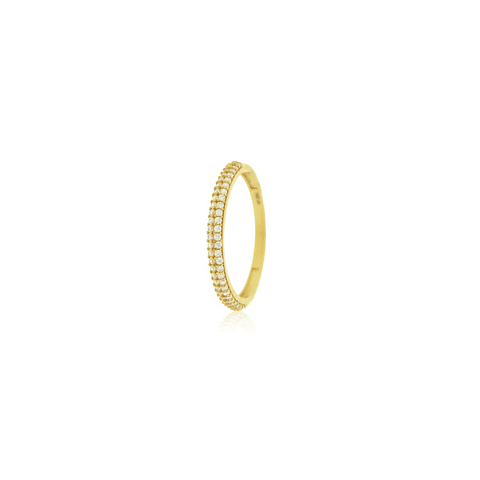 Anillo Oro 18kt Medio Cintillo Doble Circon