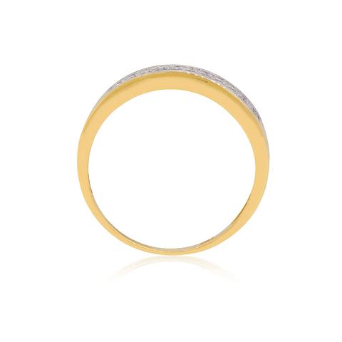 Anillo Oro 18kt Cintillo Alto Circon y Oro Blanco
