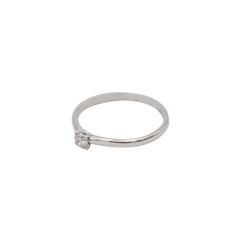 Anillo Oro Blanco  18kt  Diamante Solitario