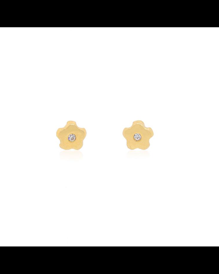 Aros Oro 18kt Circones Central Flor