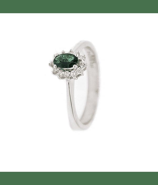 Anillo Oro Blanco 18kt  Lady Diamantes 13Pts, Esmeralda Natural.