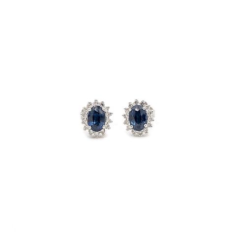 Aros Oro Blanco 18kt Lady  Diamantes 26pts, Zafiro Natural.