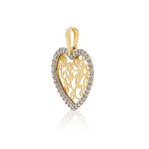 Colgante Oro 18kt Corazón Circones Filigrana