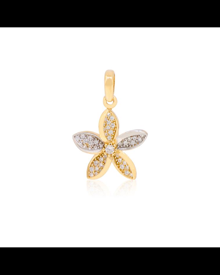 Colgante Oro 18kt Flor Circones Bicolor