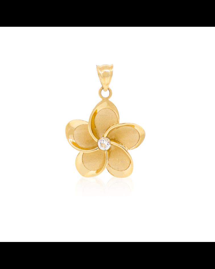 Colgante Oro 18kt Flor en Relieve