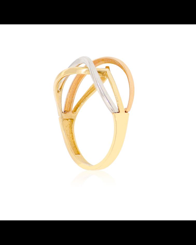 Anillo Oro 18kt Tricolor Blanco-Amarillo-Rojo
