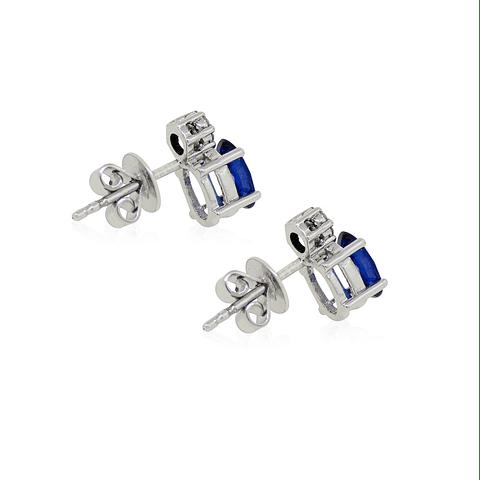 Aros Oro Blanco 18kt Diamantes Zafiros 1,1Ct
