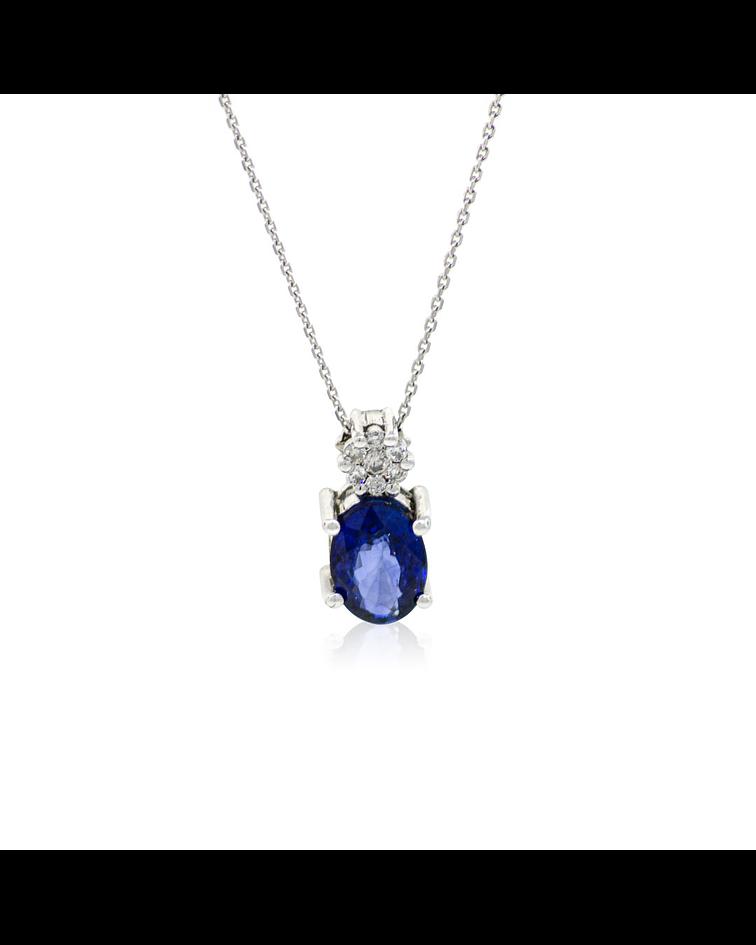 Collar Oro Blanco 18kt 6pts Diamantes, Zafiro 0,89ct