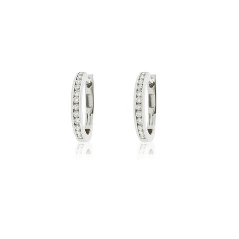 Aros Oro Blanco 18kt Diamantes Riel 24ptos